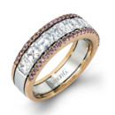 Style MR2338  18K white and rose gold ring comprised of 0.28ctw round pink diamonds and 1.67ctw asscher cut diamonds.
