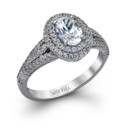 Style MR2382  18K white gold ring comprised of 0.50ctw round white diamonds.