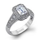Style MR2385  18K white gold ring comprised of 0.57ctw round white diamonds.