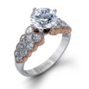 Style MR2422  18K white and rose gold ring comprised of 1.35ctw princess diamonds.