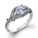 Style TR529  18K white gold ring comprised of 0.19ctw round white diamonds.
