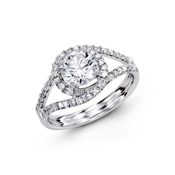 This gorgeous 18K white engagement ring is comprised of .35ctw round white Diamonds.
