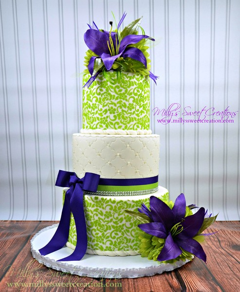 wedding cake designs purple and green milly s sweet creations cleburne tx wedding cake 22492