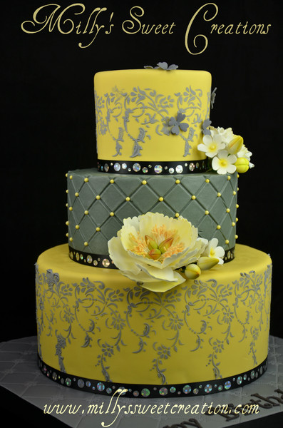 yellow and gray wedding cakes milly s sweet creations cleburne tx wedding cake 27686