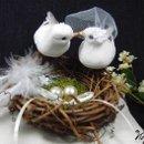 130x130 sq 1337729539856 linenringbearerpillowwithbirdsnestandlovebirds