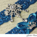 130x130 sq 1370220362056 wedding garter set blue stretch lace rhinestone applique 2