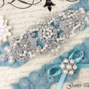 130x130 sq 1370220438464 bridal garter wedding garter set stretch lace crystal applique garterqueen 2