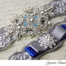 130x130 sq 1370220449130 wedding garter set grey stretch lace rhinestone applique garter queen viogemini 3