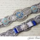 130x130 sq 1370220460913 bridal garter set gray stretch lace rhinestone applique garter queen viogemini