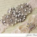 130x130 sq 1370220503660 wedding garter set ivory stretch lace rhinestone applique garter queen 2