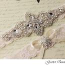 130x130 sq 1370220515438 wedding garter set ivory stretch lace rhinestone applique garter queen 3