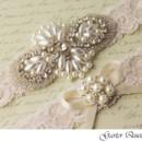 130x130 sq 1370220526887 wedding garter set ivory stretch lace rhinestone applique garter queen 2