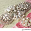 130x130 sq 1370220605699 bridal garter set pink stretch lace rhinestone applique garter queen 2