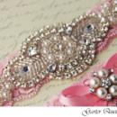 130x130 sq 1370220617247 bridal garter set pink stretch lace rhinestone applique garter queen 2