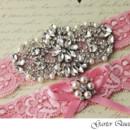130x130 sq 1370220631031 bridal garter set pink stretch lace rhinestone applique garter queen 3