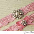 130x130 sq 1370220642977 bridal garter set pink stretch lace rhinestone applique garter queen 3