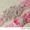 130x130 sq 1370220654844 bridal garter set pink stretch lace rhinestone applique garter queen 2