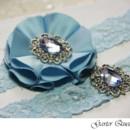 130x130 sq 1370220689085 something blue wedding garter set fabric flower blue crystal brooch