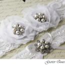 130x130 sq 1370220725075 wedding garter set white fabric flowers rhinestones garter queen viogemini 3