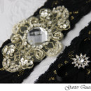 130x130 sq 1370220781619 wedding garter set gothic black lace rhinestone applique garter queen 2