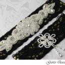 130x130 sq 1370220813494 wedding garter set gothic black lace rhinestone applique garter queen