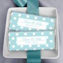 Tiffany Theme Wedding Favors: Lots of Dots in Robin's Egg Blue http://wrappedhersheys.com/p/Robins-Egg-White-Lots-of-Dots.cfm