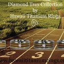 Hawaii Titanium Ring's Diamond Trax Collection for runners or car racers. Quality cut VS Diamonds set in 14k Gold embedded in bands of exotic wood. Lightweight for an athlete, comfortable to grip the wheel.