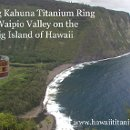Hawaii Titanium Ring's Big Kahuna original design sits in Waipio Vally on the Big Island of Hawaii. Three Hawaiian Woods are featured in this Titanium treasure; Palm Wood , Mango, and Mac Nut.