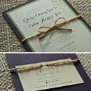 Gloria & Colin's rustic purple, apple green and cream invitations with twine band