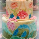 130x130 sq 1365110665273 william morris painted fondant wedding cake with peonies