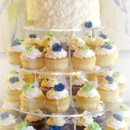 130x130 sq 1365609626218 cupcake wedding cake with swirls and blue green and white roses