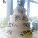 130x130 sq 1375820373455 buttercream wedding cake with black scrollwork and gold flowers