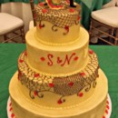 130x130 sq 1404062268224 gold painted buttercream wedding cake with net pip