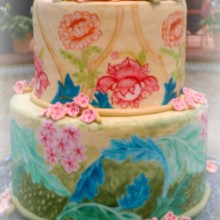 220x220 sq 1365110665273 william morris painted fondant wedding cake with peonies
