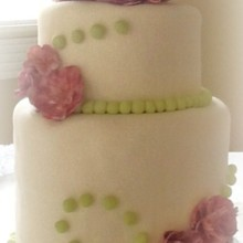 220x220 sq 1365110685640 white fondant wedding cake with peonies and green pearls