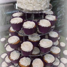 220x220 sq 1365110867292 swirl roses cupcake wedding cake 2