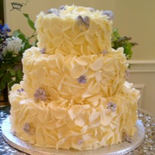 220x220 sq 1375820900742 white chocolate curls and crystalized lilacs and violets wedding cake