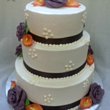 220x220 sq 1384181753357 buttercream wedding cake with purple modeling choc