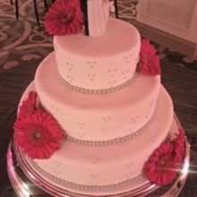 220x220 sq 1384181840715 white fondant wedding cake with grey dots and pink