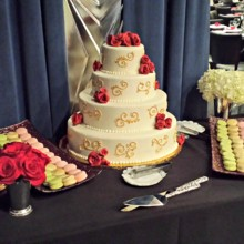 220x220 sq 1391456490700 wedding cake and macarons dessert tabl