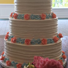 220x220 sq 1404062208377 dragged buttercream cake with peach roses and forg