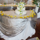 130x130 sq 1431542478010 cake table with sliver draperary using buckle