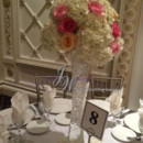 130x130 sq 1431625048436 white pink centerpiece 2