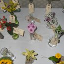 Each table's placecard bottle/vases coordinated with the flowers in the centerpiece of the assigned table. The placecards served as both, seating assignment and a favor for the guests to bring home.
