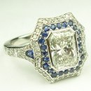 130x130 sq 1338909567252 antiqueengagementringsapphirediamondhalobezelsetradiantcut