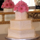 130x130 sq 1371003946882 wedding cake with pink gerber daisies