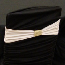 220x220 sq 1405207188787 white band on black ruched cover with gold bracele