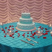 220x220 sq 1405207435065 turquoise red wedding cake table waterfall backdro