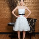 Heidi Tulle. Aline cocktail gown. Strapless, asymmetrically draped dropped waist bodice. Aline skirt is accented with three dimensional organza ribbon detail.