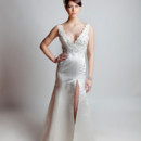 Essence Silky Satin. Trumpet gown with V-Tank neckline and beaded lace bodice. The trumpet skirt is accented with a slit from thigh to hem.